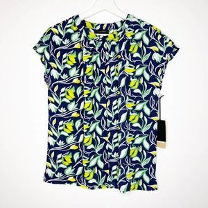 HALOGEN Floral Printed Button Down Blouse